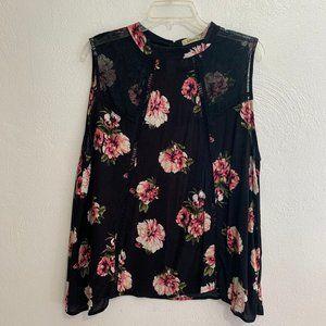 Black Floral Sleeveless Print Blouse